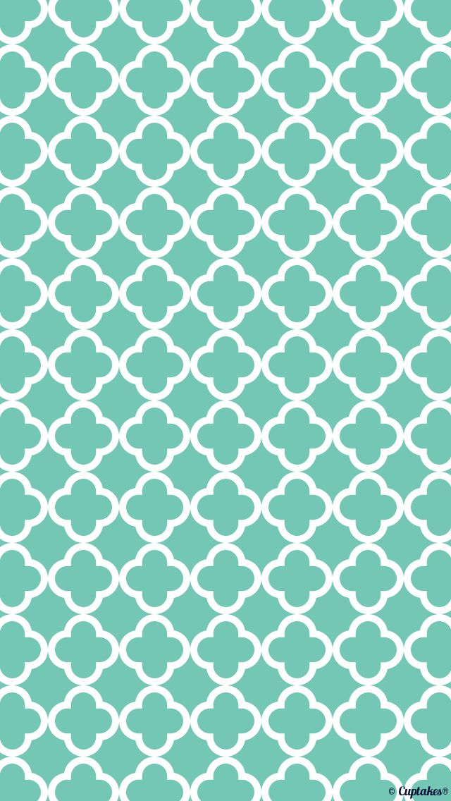 Blue Turquoise Quatrefoil Wallpaper