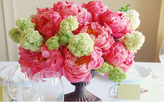 Pink peonies and hydrangea centerpiece. peonies hydrangea pink green flowers centerpiece