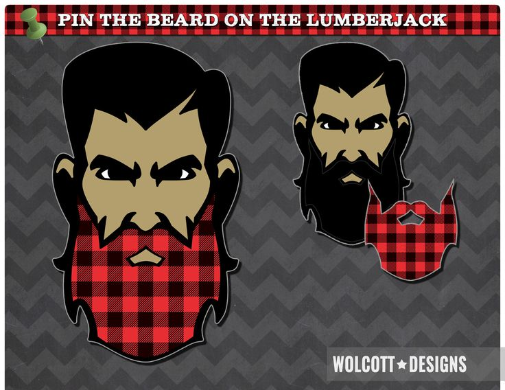 Pin The Beard On The Lumberjack, Lumberjack Party, Lumberjack Party Games, Lumberjack Party Supplies, Party Games, Beard, Movember by WolcottDesigns on Etsy More