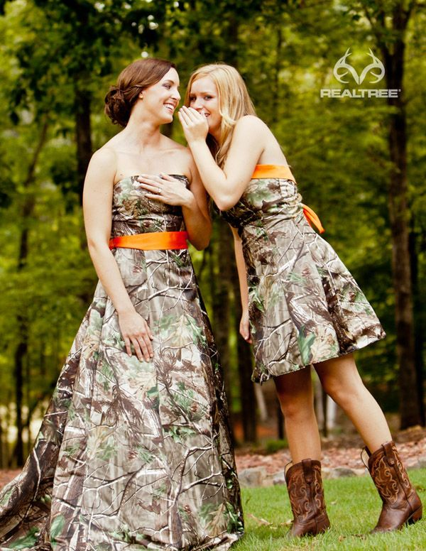 camouflage bridesmaid dresses with orange belt