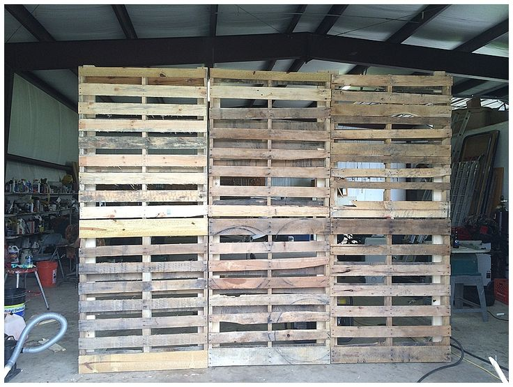 Pallet wall with draped tulle and Christmas lights. And fall leaf garland