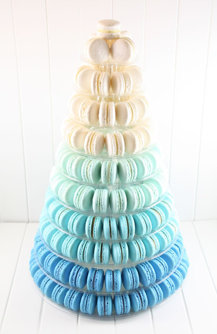 Ombre Blue Macaron Tower - I like the cascading effect