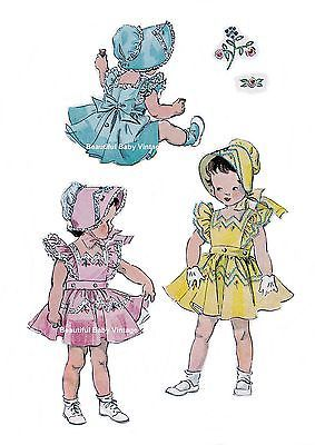 Reproduction Simplicity 1950s SEWING PATTERN  Baby Toddler Dress Bonnet 1 2 3