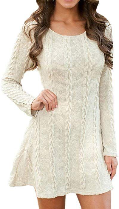 d7c12afc9293 BienBien Maglione Manica Lunga Donna Semplice Maglia Vestito Ragazza Knit  Pullover Magliette Tumblr Invernali Casual Mini