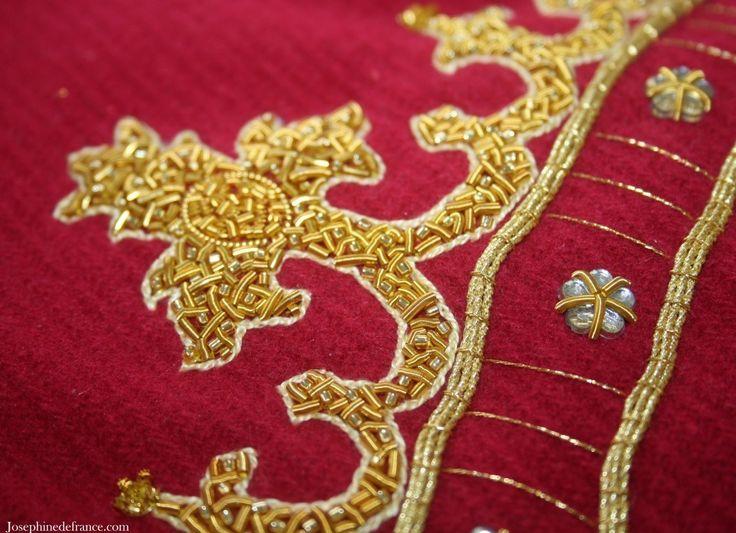 Goldwork crown on wool