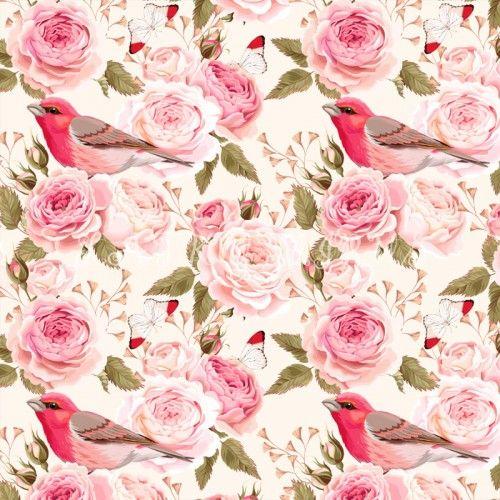 Růže s ptáčkem - digi tisk 2