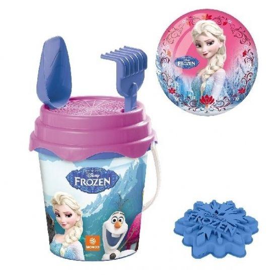 Strand/zand emmersetje Frozen. 6-delig. Dit emmer setje bestaat uit: een emmer met zeefje, bal, hark, schep en twee leuke vormpjes. Materiaal: plastic.