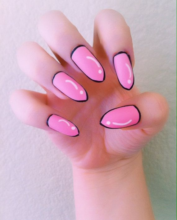Pink Pop Art Comic Acrylic Nails by LetsGetNailed on Etsy