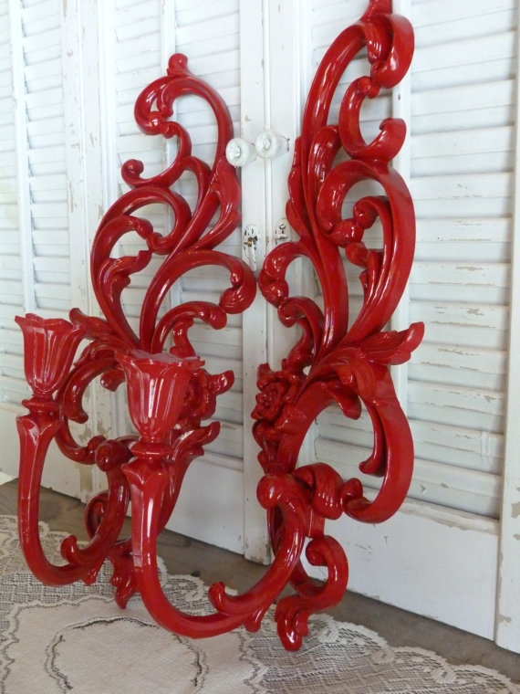 Vintage Wall Red Ornate Candle Holders / by RusticPrairieCottage, $20.00