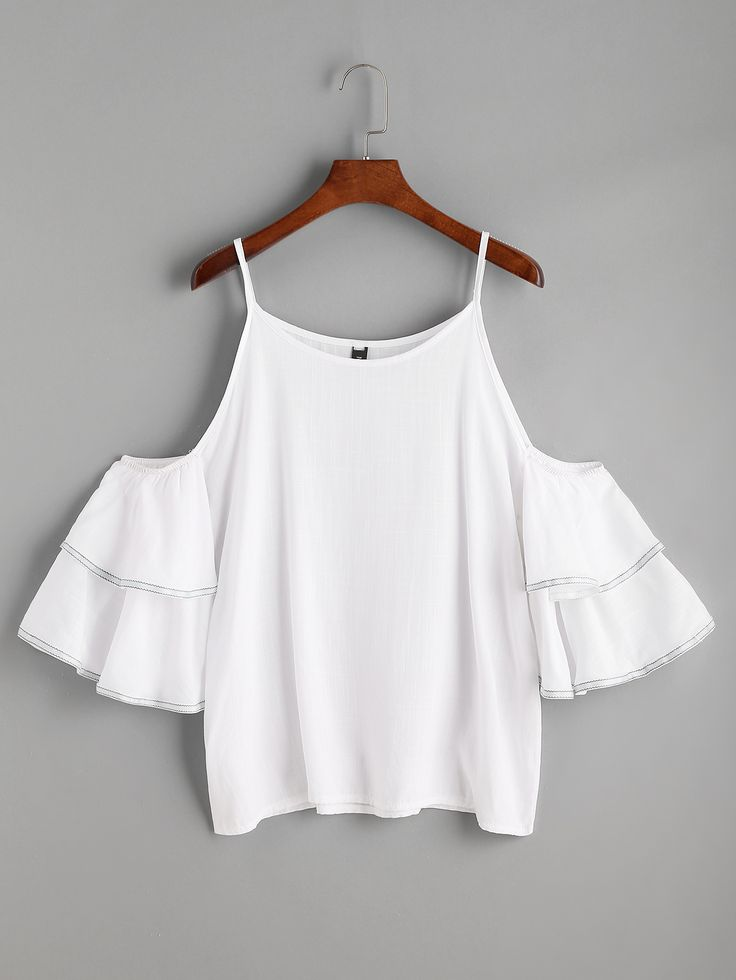 Shop White Cold Shoulder Ruffle Tiered Top online. SheIn offers White Cold Shoulder Ruffle Tiered Top & more to fit your fashionable needs.