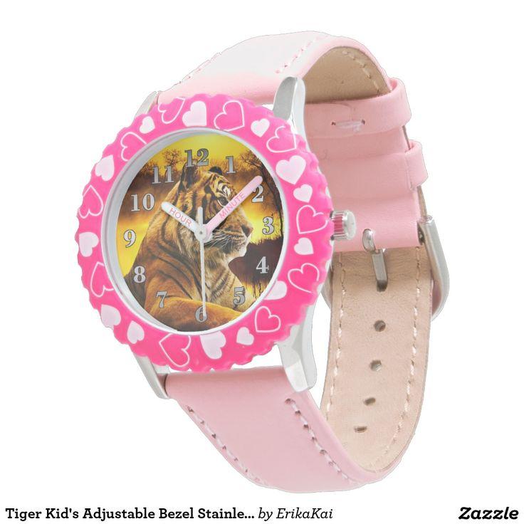 Tiger Kid's Adjustable Bezel Stainless Steel Watch
