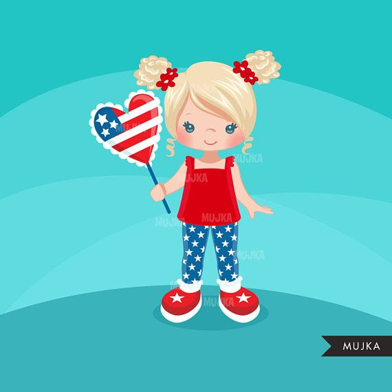 4th Of July Clipart Independence Day Little Girl Graphics 4th Of July Clipart Independence Day Wallpaper July Clipart
