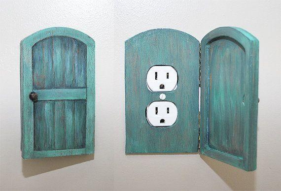 Wooden Rustic Decorative Hobbit Fairy Door Outlet Switchplate Cover by Marsha Burton