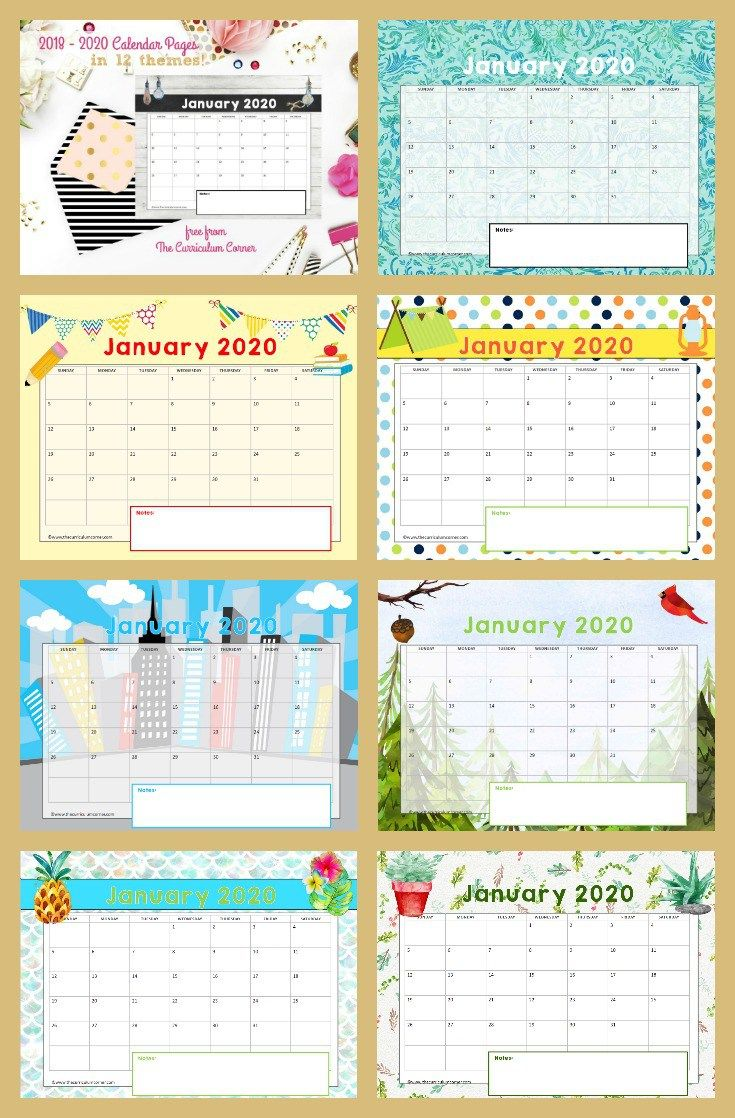 January 2020 Calendar Pinterest FREE Calendar Pages   ***Ad 24 7 TiePlay Educational Resources LLC