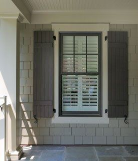 Cedar Shake vinyl siding, window trim and shutters