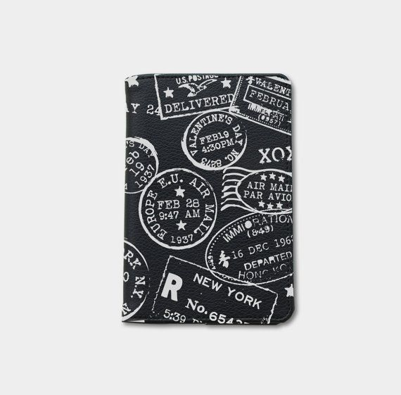Travel wanderlust stamp passport cover,passport holder,gift for her gifts for boyfriends personalize