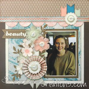 Example 1 of Beauty layout - love the look of the scrunched flowers - used Stampin' Up!s Core'dinations and Blossom punch