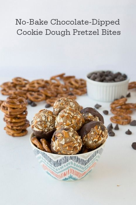 ... No Bake Chocolate Dipped Cookie Dough Pretzel Bites. Your whole family