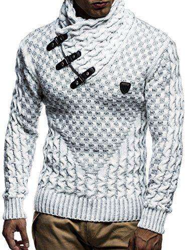 LEIF NELSON Herren Strickpullover Pullover LN5255; Größe S, Ecru-Grau