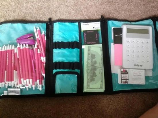 Love this tip for direct sellers.  Keep your marketing materials ready to go and don't waste money again!  The Timeless Beauty Bag from Thirty-One keeps things neat and tidy (and protected!) and keeps pens, contact slips, etc ready to go at a moment's notice!
