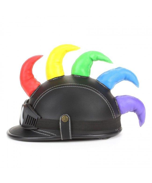 LOUDelephant Saw blade Mohawk horned novelty festival helmet with goggles - Black & rainbow
