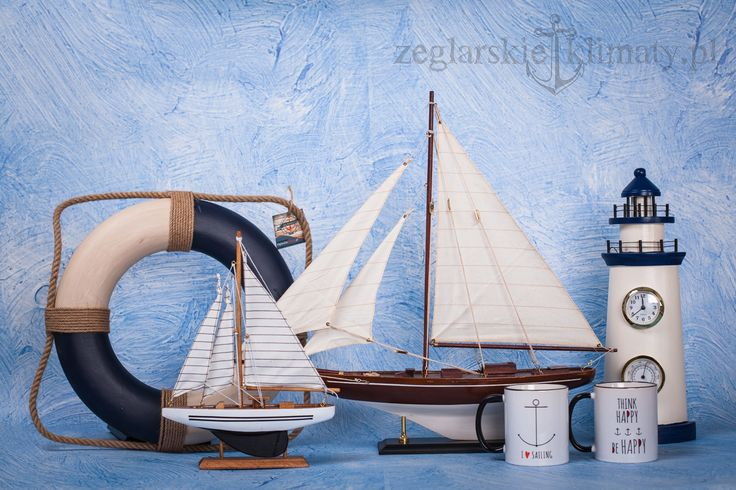 nautical model boat, lifebuoy, textiles, cups zeglarskieklimaty.pl