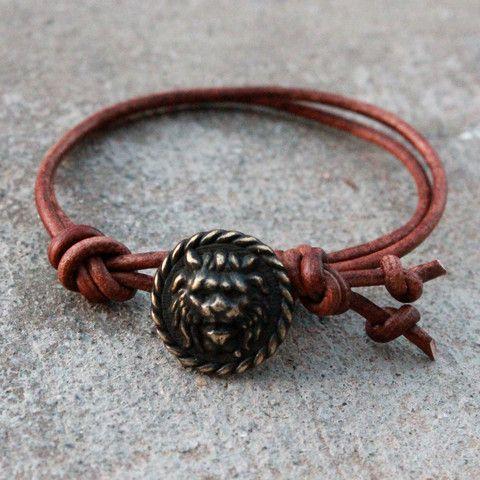 courage, genuine leather Lion bracelet - lovepray jewelry