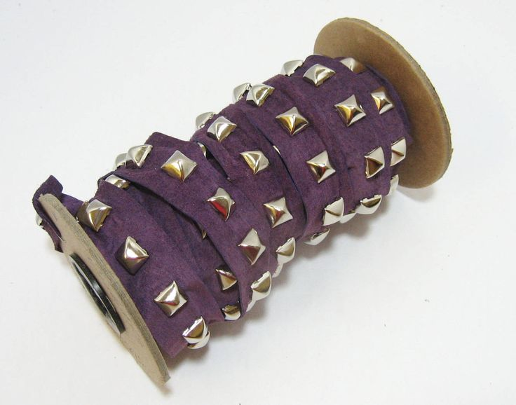 """1 YD of 1"""" wide Purple Genuine Pig Suede Trim Tape with Square Pyramid Nailhead Accent; edge binding; top stitch decoration; sewing;crafting"""