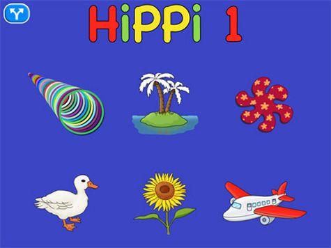 """Hippi 1 består av sex olika sorters """"trycka – hända"""" övningar. Appen avser att skapa ett intresse av vad som händer på skärmen, träna uppmärksamhet, förstå orsak och verkan samt öva användandet av surfplatta."""