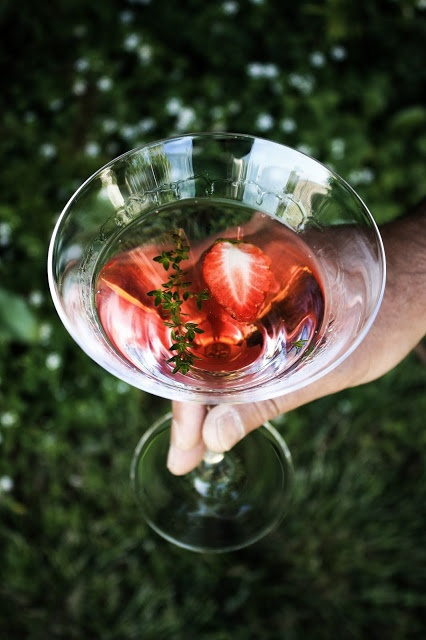 Gin and strawberry, lemon thyme cocktail