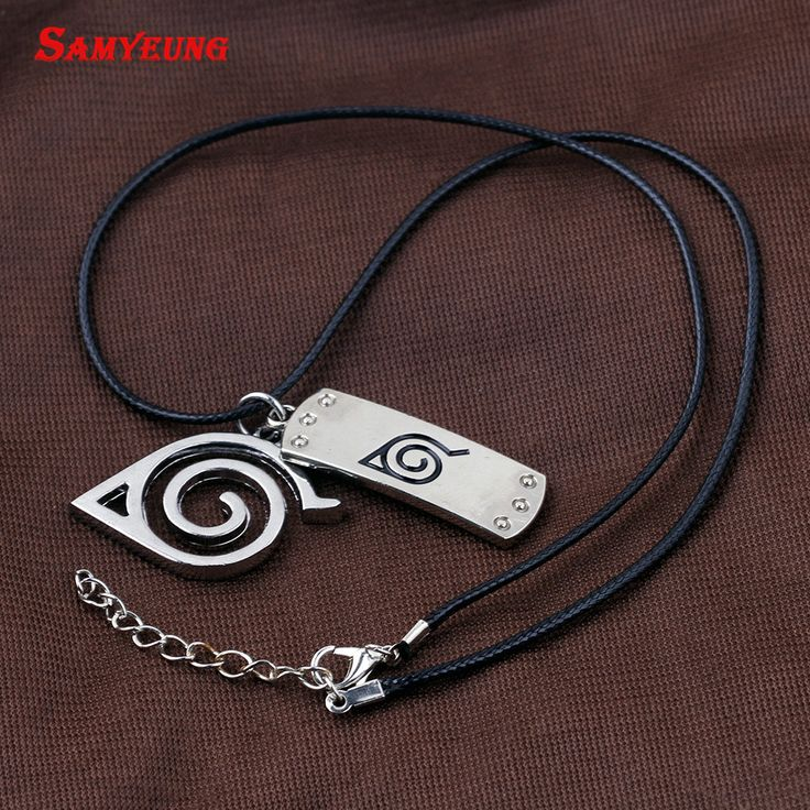 Samyeung Anime Naruto Leather Chain Necklaces Homme Cosplay Naruto Kakashi Necklace Male Necklace Neckless Women Collier Femme