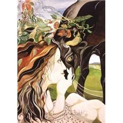 Pauline Bewick RHA (b.1935) WOMAN AND BULL, ROSSBEIGH signed and dated [October 1979] -LOVE