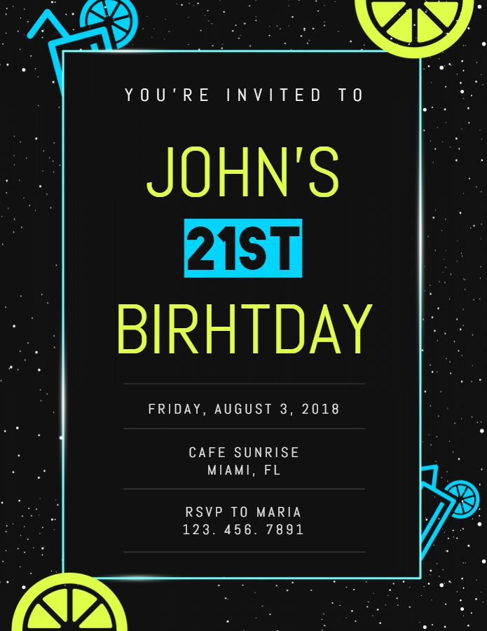 21st Birthday Invitation Card Template With Images 21st