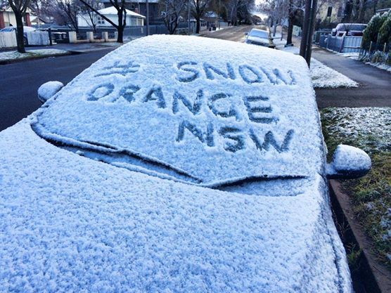 Snow in Orange today  Photo from https://www.facebook.com/TasteOrange?fref=photo