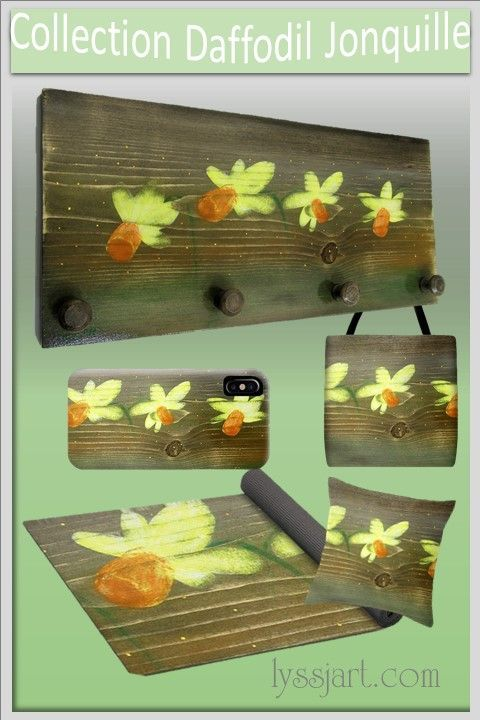 Wall coat rack with pegs with yellow and orange daffodil for rustic decor.  More harmonized set custom are available :  pencil holder, organizer, wall shelf