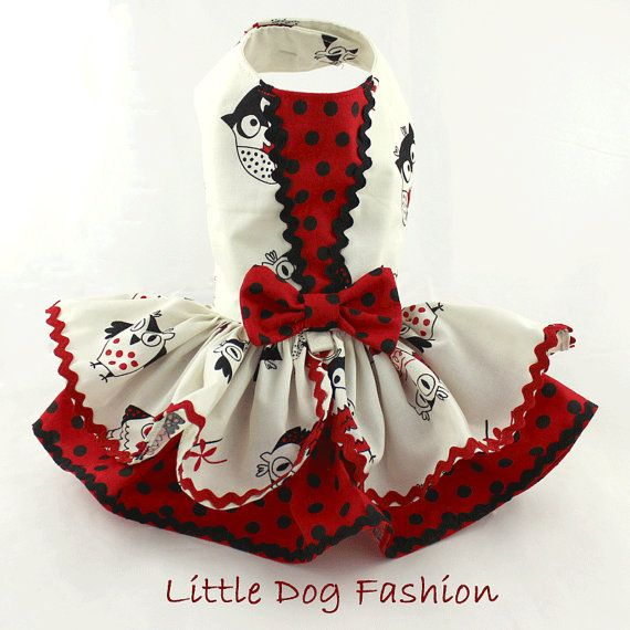 Spring Summer dress for dogs Owl Print in Red by LittleDogFashion
