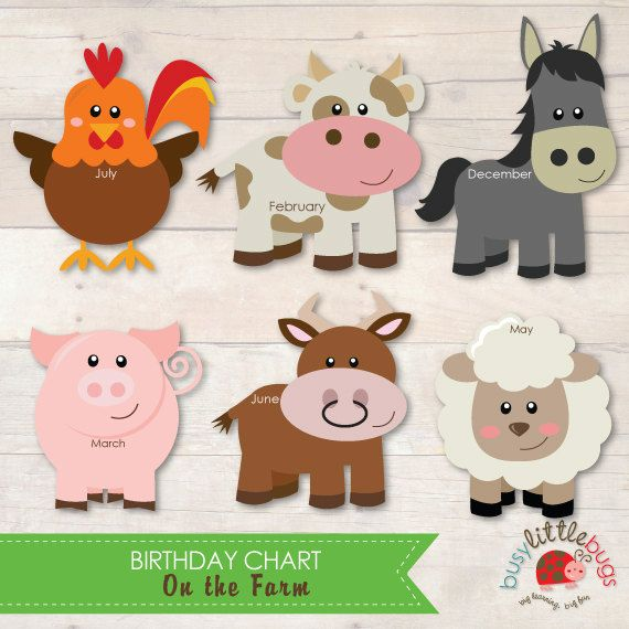 On the Farm Birthday Chart for Teachers and by BUSYLITTLEBUGSshop