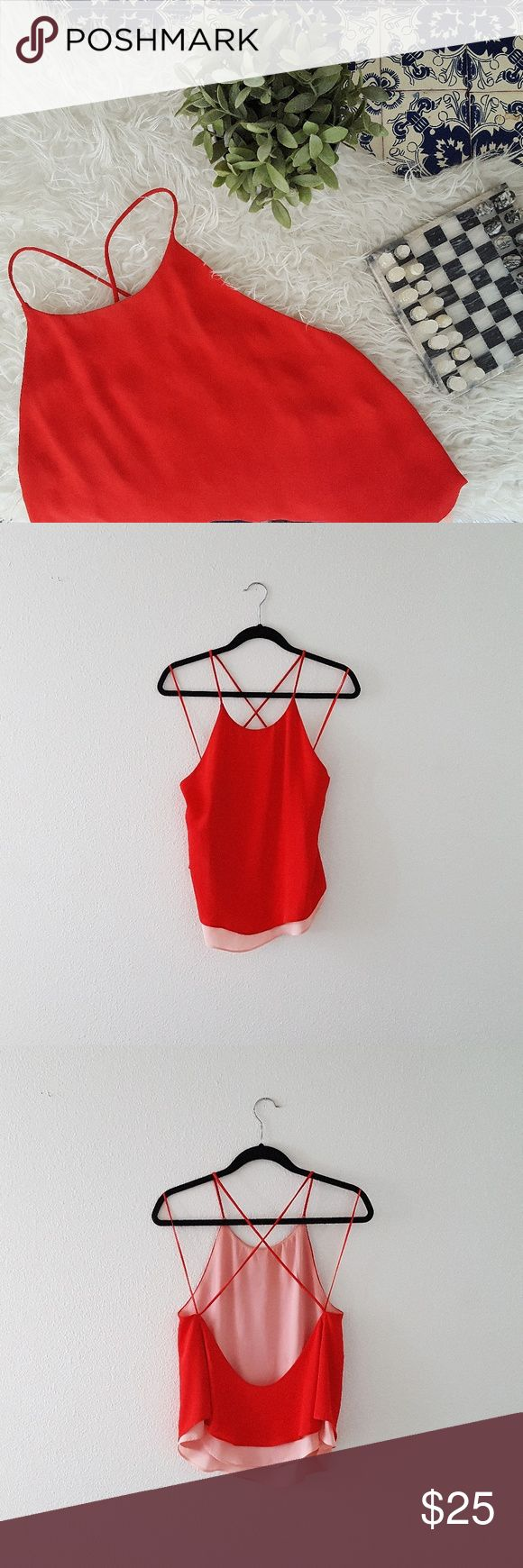 ZARA red and pink strappy top with crossed back Absolutely gorgeous! Good condition, just some minor  normal wear from stains. Please let me know if you have any questions or want to make an offer 💕💕💕 Zara Tops Blouses