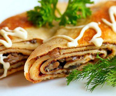 Křupavé palačinky s houbami / Crispy pancakes with mushrooms