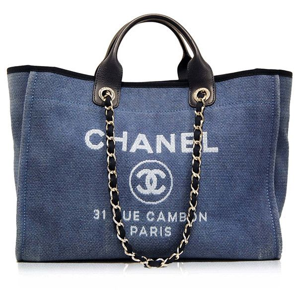 Chanel Blue Cabas Ete Canvas Tote ❤ liked on Polyvore