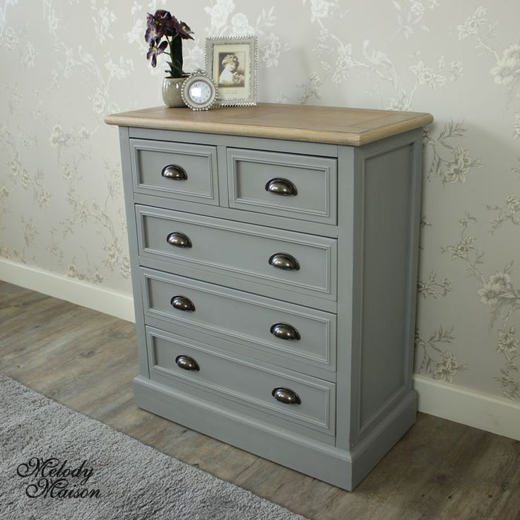 Admiral Range - Five Drawer Chest Great storage with 2 small drawers at the top and 3 larger drawers underneath In a grey painted finish, natural panelled top and brass cup handles Ideal for a rustic country style room Please see other items available in this range