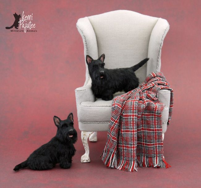 Two dollhouse miniature 1:12 Scottish Terrier sculptures of polymer clay & fiber.
