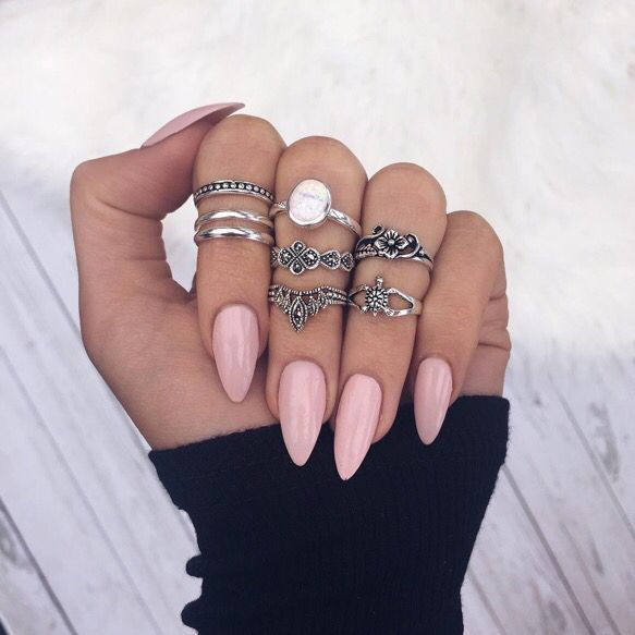 pink almond acrylic nails