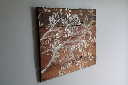 Stencil on old barn wood: Wall Art, Old Barns Woods, Branches Wall, Diy Artwork, Great Ideas, Woods Crafts, Pallets Projects, Diy Projects, Wooden Trees