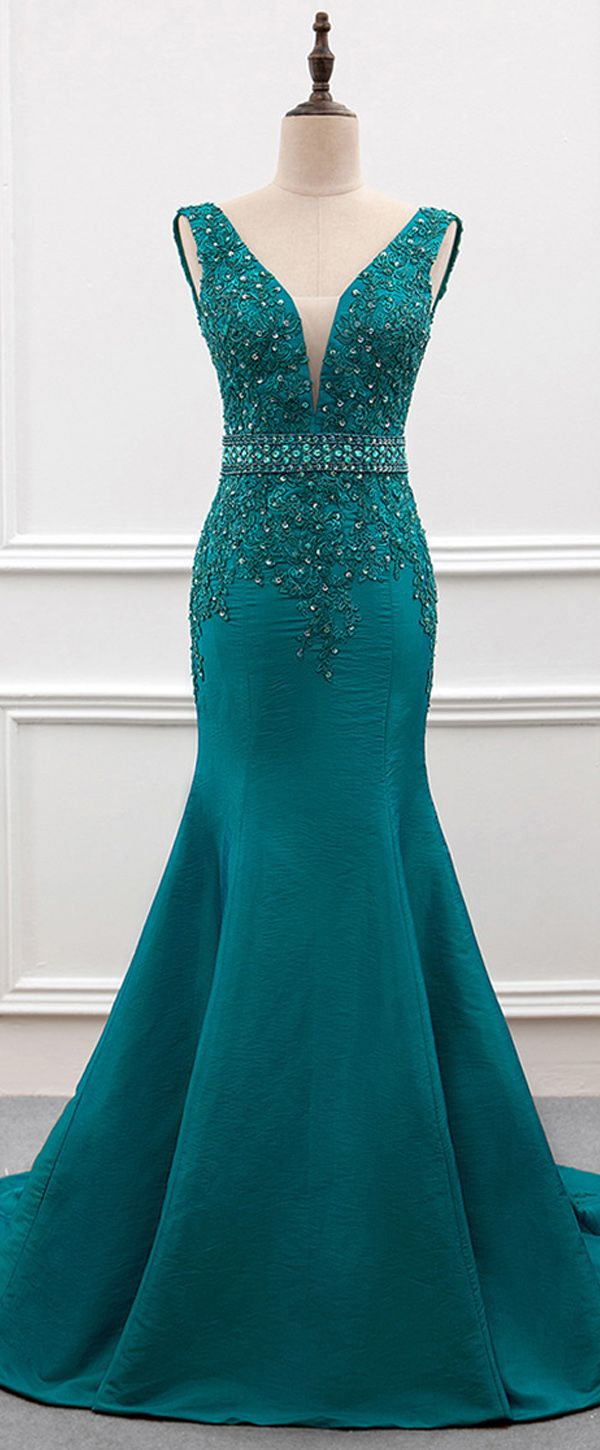 Delicate Taffeta V-neck Neckline Mermaid Evening Dress With Beaded Lace Applique…