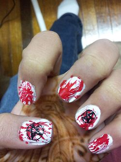blood supernatural nails #nails. Wow this'll be easy because they were going to be messy anyways