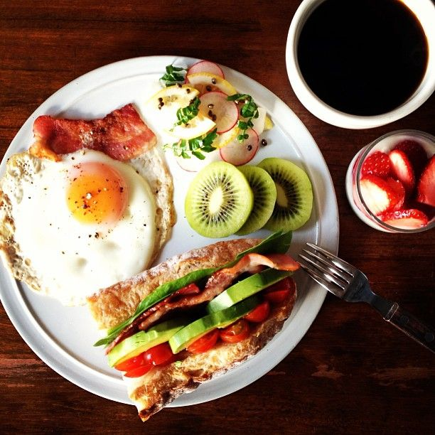 Todays breakfast. Bacon, Avocado and Tomato Baguette sandwich ベーコン、アボカド、トマトのサンド