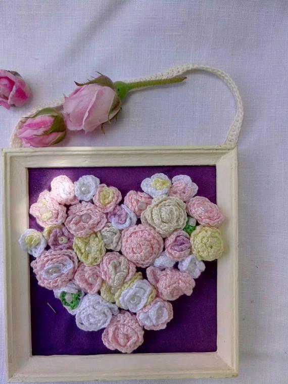Romantic Picture Floral Heart with 3D Effect Crochet Miniature