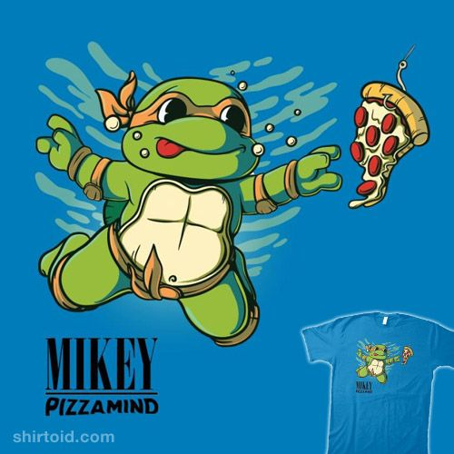 MIKEY – Pizzamind | Shirtoid #angdzu #comic #comics #film #michelangelo #movies #music #nevermind #nirvana #pizza #teenagemutantninjaturtles #tmnt #tvshow