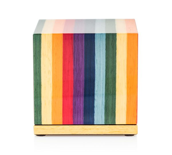"""Keepsake Urn for Ashes - Italian Lacquered Wood Cube in """"Joy"""""""